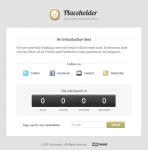 Placeholder – Tema Gratuito para WordPress – Página de Construção